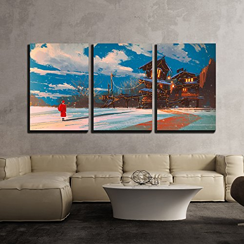 wall26 - 3 Piece Canvas Wall Art - Illustration - Winter Landscape with Wooden House at Christmas Night,Illustration Painting - Modern Home Decor Stretched and Framed Ready to Hang - 24