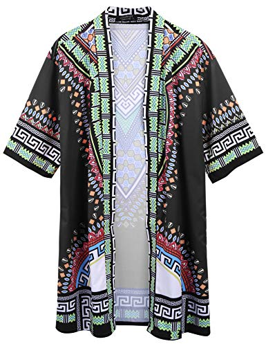 COOFANDY Mens African Dashiki Printed Ruffle Shawl Collar Cardigan Lightweight Long Length Drape Cape (XL, ()