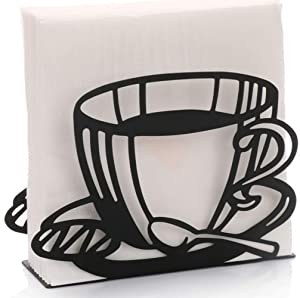 Paper Napkin Holder for Kitchen Tables and Counter Tops| Black Galvanized Napkin Basket Caddy| Vintage Modern Décor| Farmhouse Decoration (Coffee Cup)
