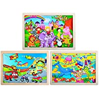 GRACEON Wooden Jigsaw Puzzles Set for Kids Age 3-6 Year Old 40 Piece Colorful Wooden Puzzles for Toddler Children Learning Educational Puzzles Toys for Boys and Girls (3 Puzzles)