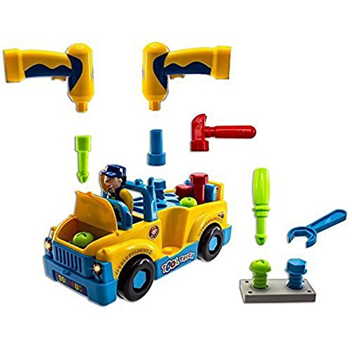 Early Educational Take Apart Self Assembling Kit - Multifunctional Bump N' Go Action Tractor Trailor - Realistic Battery Operated Sing Along Truck.