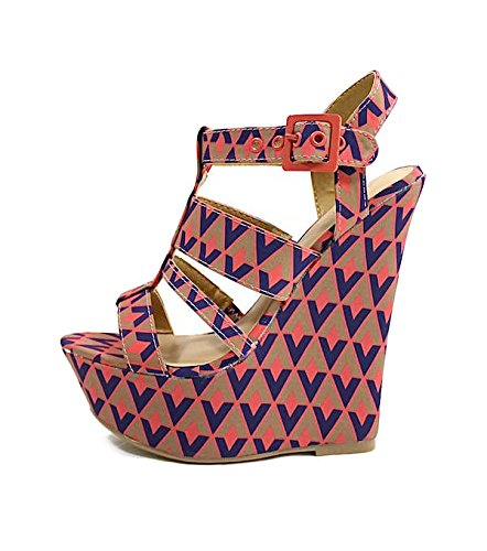 eb2ccf0d453 dollhouse Electric Tribal Strappy Open Toe Platform Women Wedge Shoes  Sandal (6.5