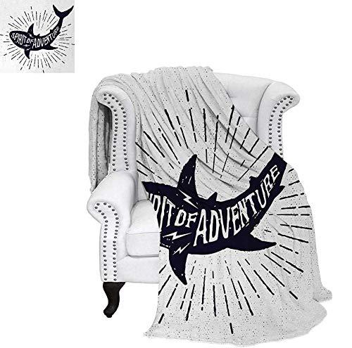 Weave Pattern Blanket Spirit of Adventure Quote Over A Fish Body Wildlife Motivational Grunge Design Custom Design Cozy Flannel Blanket 70
