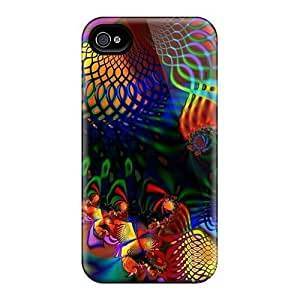 Hot Tpu Cover Case For Iphone/ 4/4s Case Cover Skin - Hypercolor Fractal