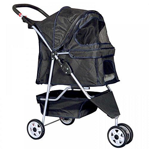 New Blue Pet Stroller Cat Dog Cage 3 Wheels Stroller Travel
