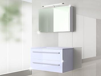 Badezimmermöbel weiß  Badmöbel Set Badezimmermöbel Waschbeckenschrank mit Waschtisch + ...
