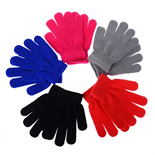 Pinksee Kids Boys Girls Winter Warm Stretchy Knitted Magic Gloves (5 Pair Randomly )