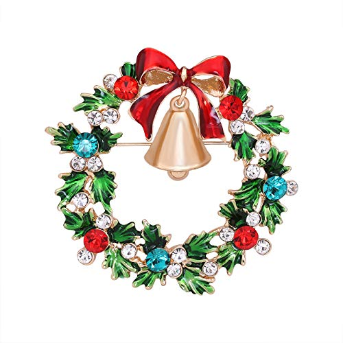 Boderier Christmas Xmas Holiday Snowflake Sled Snowman Brooches Pin Jewelry Gift (Santa Wreath) ()