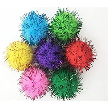 Sparkle ball cat toy 10 pack 1 pet toy for Tinsel craft pom poms