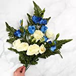 Factory-Direct-Craft-Cream-and-Blue-Poly-Silk-Mixed-Rose-and-Gladiolus-Half-Bush-for-Memorials