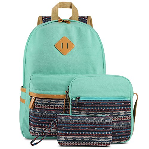 Plambag Canvas Lightweight College Backpack - A 3 Piece Set