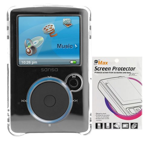 Transparent Clear Crystal Snap On Hard Case + Durable Clear Reusable LCD Screen Protector for SanDisk Sansa Fuze
