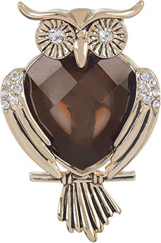 Napier Smoke Topaz Stone Owl Pin One Size Brown/gold tone multi