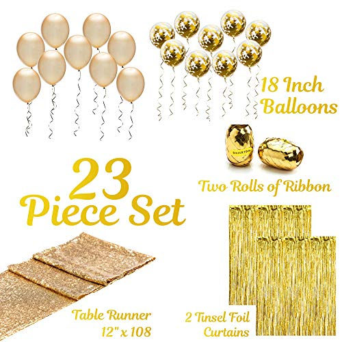 Artunique 23pc Gold Party Decorations & Party Supplies Kit | Huge 18 inch Latex and Confetti Gold Balloons (18) | Gold Sequin Table Runner (1) | Gold Fringe Curtain Backdrop (2) | Gold Ribbon (2) |