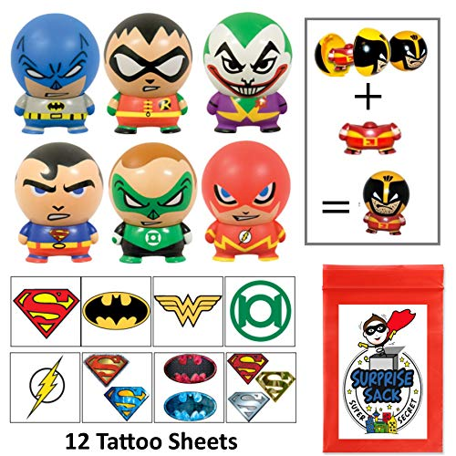 The Amazing DC Superhero Party Favor Pack (Buildables & Large Tattoos)]()