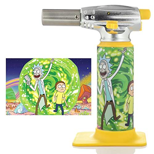 ErrlyBird Torch Art Refillable Butane Adjustable Flame Torch Lighter with Safety Lock, for Cigar, Culinary Use (Rick and Morty Through the Portal)