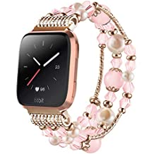 Anjoo for Fitbit Versa Band, Fashion Jewelry Elastic Stretch Pearl Bracelet Replacement Women Girls Strap Bands for Fit bit Versa Smartwatch - Pink