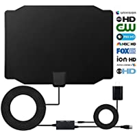 HDTV Antenna, 2018 Newest Style Digital Indoor 60-80 Miles Range Signal Booster Switch Control Amplifier Antenna, High Performance for HD Image TV Shows with 16.5 Feets Coaxial Cable, Black