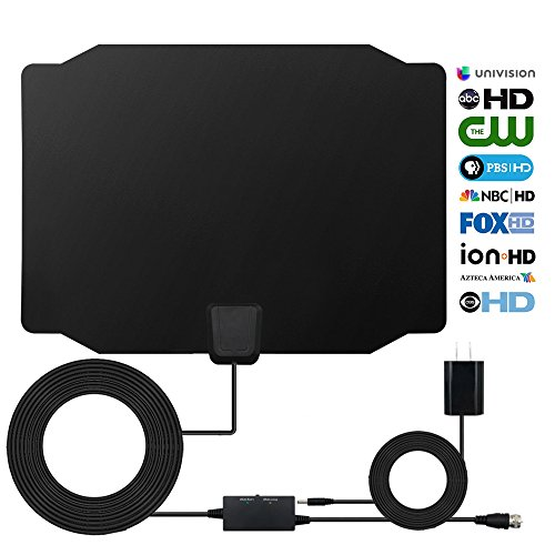 HDTV Antenna, 2018 Newest Style Digital Indoor 60-80 Miles Range Signal Booster Amplifier Antenna, Support 4K 1080p and all Older TVs, High Performance for HD TV Shows with 16.5 Feets Coaxial Cable