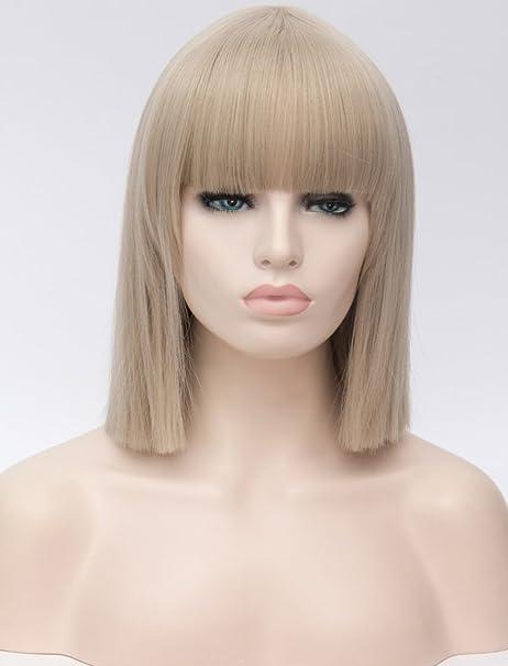 Peluca de pelo sintético para mujer rubio con estilo de flequillo Falamka Strawberry