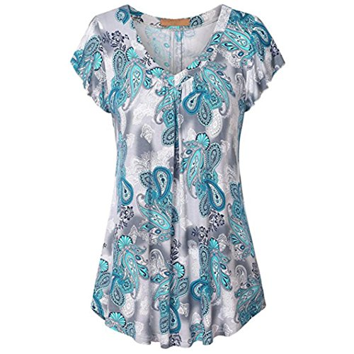 Realdo Womens Print T-Shirt, Plus Size Pleated Short Sleeve V Neck Top Tunic Blouse Shirt(Sky Blue,Small) (Jenny Print Tunic)