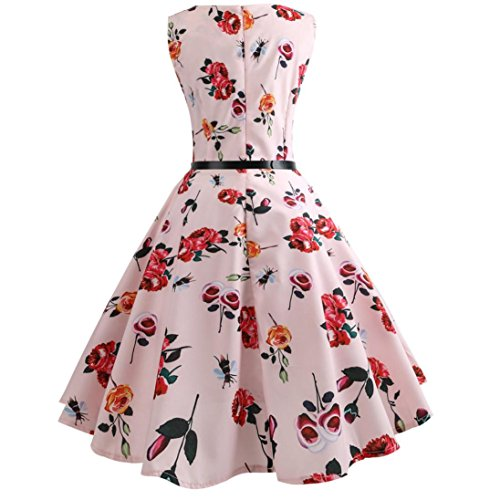 Janly Rockabilly-Stil, Kleid, Frau Figurbetont Party Ball Swing Kleid Plus Größe Vintage Damen Plissee Kleider rose