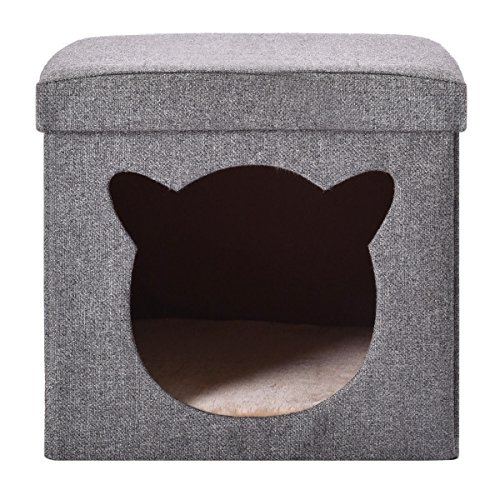 Box Seat Ottoman Cube Folding Cube Cat house Storage Foot Stool Home Office - Stool Case