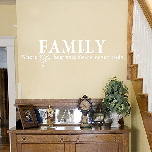 Wall Decal Decor Family Where life begins and love never ends - Family Wall Decal - Family Wall Saying - Love Wall Decal(White, 5.5