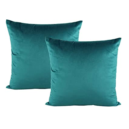 057891945f92 VAKADO 20x20 Inch Teal Velvet Soft Solid Throw Pillow Covers Decorative  Square Cushion Cases Home Decor for Couch Sofa Bedroom Car Set of 2
