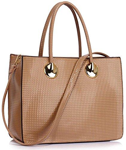 Luxury Handbag For Women Ladies Designer Bag Shoulder Top Zip Grab Tote Patent Leather Large In Size Design 1 - Nude