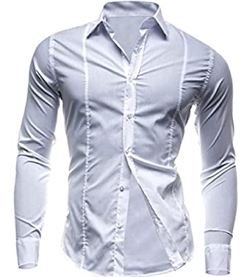 Zimaes Men's Turn-down Collar Washed Stylish Slim Casual Down Tops