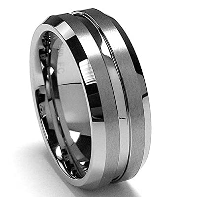 King Will 8mm High Polished Center / Matte Finish Men's Tungsten Ring Wedding Band All Sizes