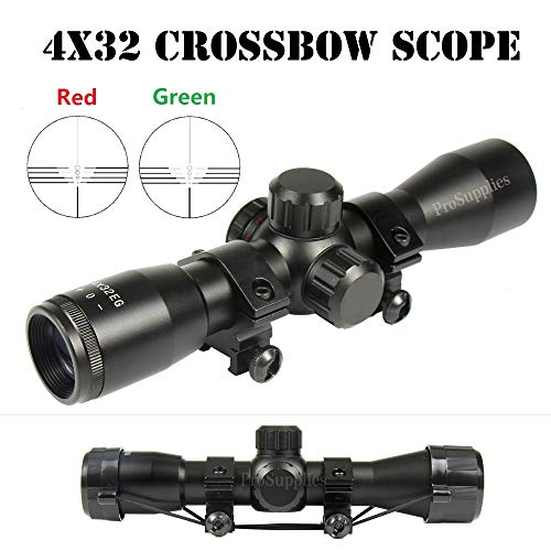TACFUN 4X32 Crossbow Compact Multi Range Reticle Scope Red Green with Rings Lens -