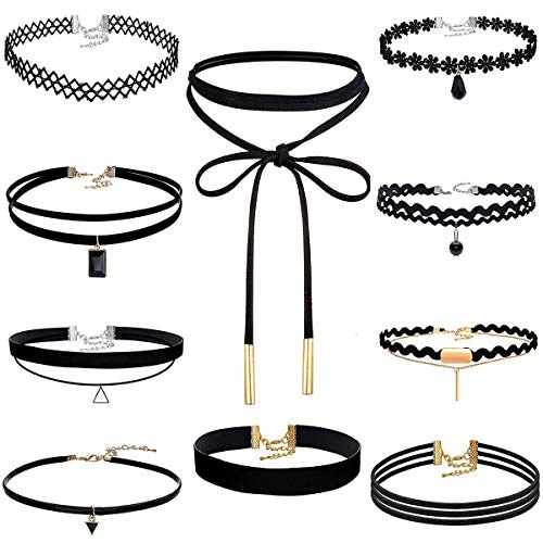 Akstore 10 PCS Velvet Choker Classic Choker Necklace Layered Black Chokers Necklaces Cute Black Velvet Choker Necklace Womens (10)