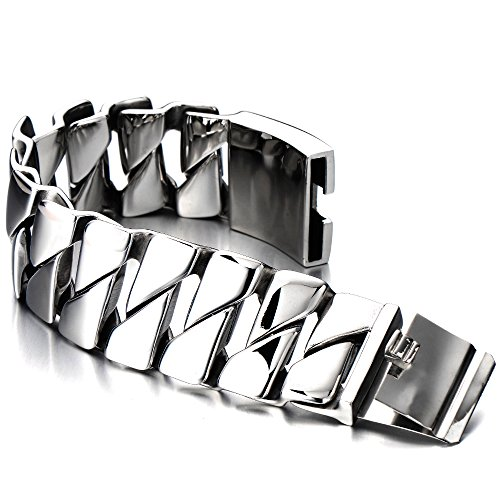 (COOLSTEELANDBEYOND Heavy and Study Mens Stainless Steel Fancy Curb Chain Bracelet Silver Color High Polished)