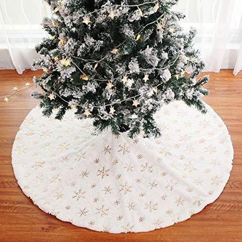 QIAOQ Falda de árbol de Navidad Tejidos de Felpa con Lentejuelas ...
