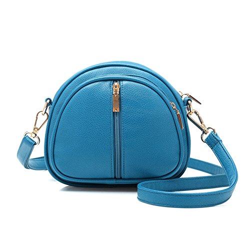 GSPStyle Damen Schultertasche Kleine Handtasche Reißverschluss Cross Body Umhängetaschen Farbe Blau