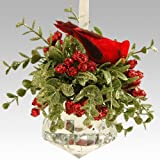 Glittery Kissing Krystal Cardinal Christmas Mistletoe on Acrylic Prism Ornament