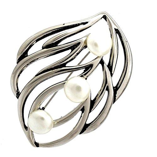 Stylish Jewellery Grande broche ornée de perles décoratives Design feuille