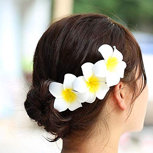 (Zoestar Hawaii Plumeria Flower Hair Clips 3pcs Beach Flower Foam Hair Accessory for Women)