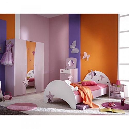 jugendbett sternchen 90 200 cm lila wei kinderbett jugendliege bettliege bett holz bettgestell. Black Bedroom Furniture Sets. Home Design Ideas