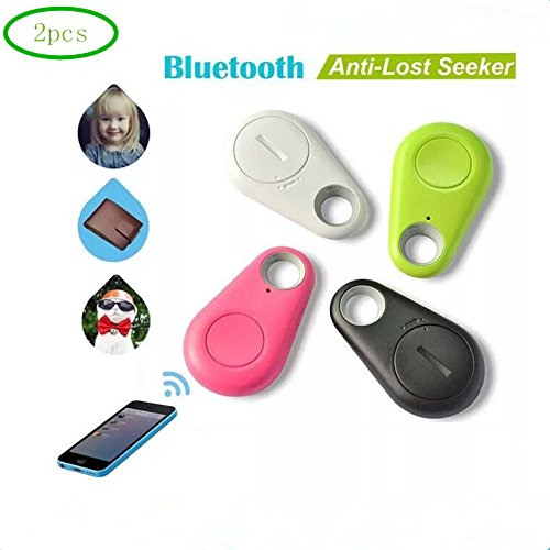 2pcs Bluetooth 4.0 Mobile Tracker Mini Wireless Key Detector Anti-lost, Selfie Shutter for iOS and Android Smartphones for Positioning Pets, Kids, Keys, Wallets, Cars