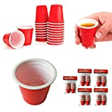 100 Mini Red Cups 2oz Plastic Disposable Jello Jelly Shot Glasses Party Fun