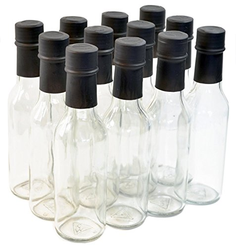 Hot Sauce Jars - Clear Glass Woozy Bottles with Shrink Capsules, 5 Oz - Case of 12