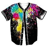 Baseball Tee Shirt 3D Baseball Jersey Shirts Unisex Hipster Button Down Tops Multi US Euro M(Asian L)