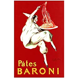 Pates Baroni Poster, Spaghetti, Vintage Italian Pasta Advertising by Leonetto Cappiello