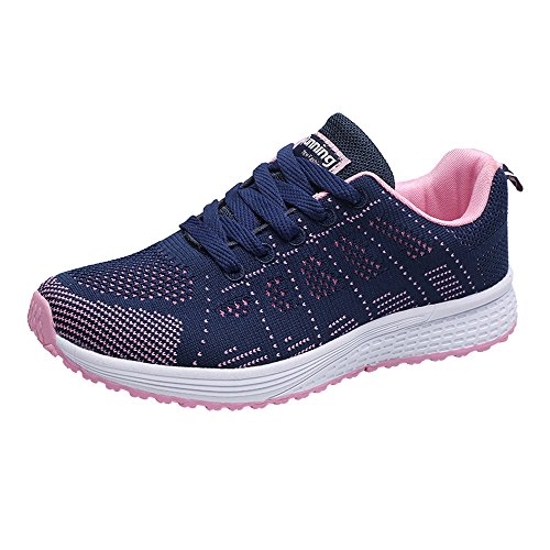 - Toimothcn Women Fashion Mesh Round Cross Straps Flat Sneakers Casual Lace-Up Running Shoes(Dark Blue,37)