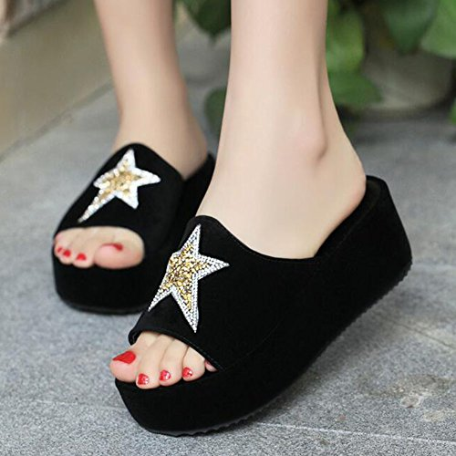 Casual Rhinestone Crystal Toe Platform Star Open With Slippers ANDAY Black Womens 5nwqgZ6