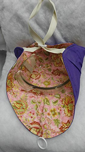 - Casserole Tote - Royal Blue over Pink-green floral