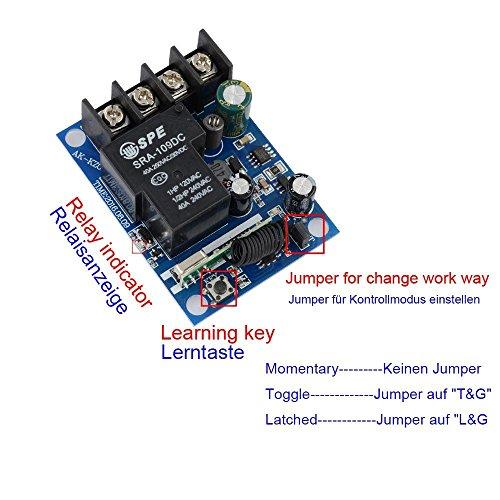 Lejin Wireless Remote Control Switches DC 12V-48V 40A Relay Wide Voltage Receiver 12V 24V Receiver Transmitter 3000W Remote Controller high power remote control control light control motor by Lejin (Image #5)